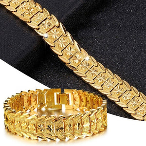 2020 NEW Big Wide for Men's Jewelry Bracelet Atmosphere Chain Classic Bracelet 24K Gold Plated Chain Men's Gift Bracelet