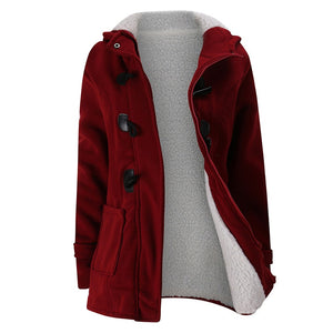 New Autumn Winter Womens Horn Button Coat Slim Warm Woolen Jackets Female