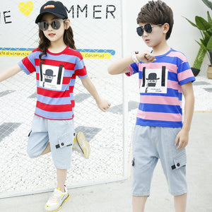 2020 New Popular Children's Clothing Boys Girls Summer Suit Stripe Tops T-shirt Western Clothes Kids Summer Cool Two-piece Set