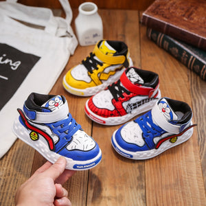 2020 New Style for Autumn Children Casual Shoes Cute Cartoon Non-Slip Soft Bottom Toddler Shoes for Boys Girls Mid-Top Sneakers