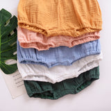 2020 New Toddler Baby Girls Shorts Cotton Summer Casual Boys Short Elastic  Linen Cotton Solid PP Pants Bread Bloomer Outfit 1-4