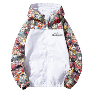 New Winbreaker Mens Casual Hoodies Jackets Printed Clothes Men's Hooded