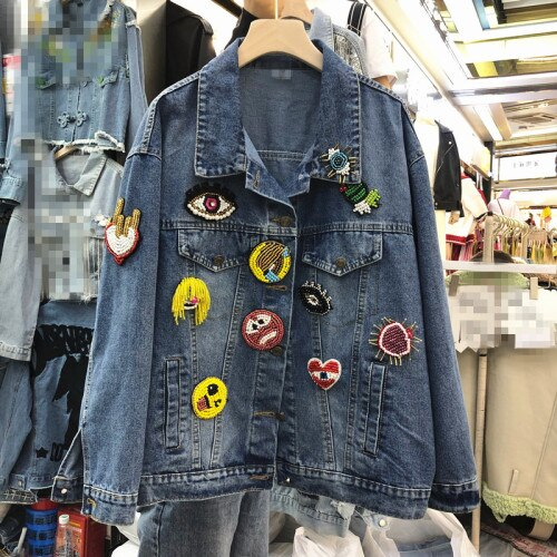2020 Spring European Style New Women's Heavy Handmade Beaded Smiley Badge Fashion Personality Loose-Fit Denim Short Jacket