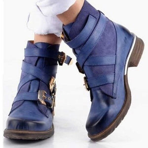 2020 Winter Women's Boots High-heeled Round-Toe Shoes Multi-layer Buckle Back Solid Color Retro Vintage Belt Buckles Boots