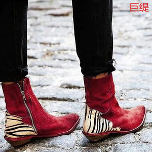 2020 Women Ankle Boots For Women Autumn Winter Zebra Print Pointed Toe PU Leather Shoe Female Comfort Footwear Big Size