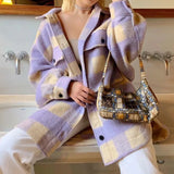 Women Spring Fashion Warm Cotton Long Za Jacket Female Casual purple Plaid Long