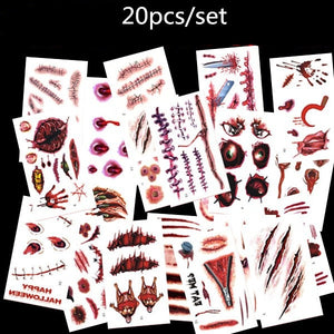 20pcs 3D Tattoo Sticker Halloween Scar Design Small Pattern Waterproof Temporary Tattoo Body Art for Men Women Kids Fake Tattoo - thefashionique