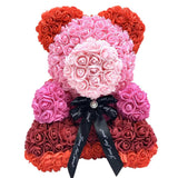 25cm Red Rose Teddy Bear Colorful Soap Flower Artificial Decoration Rose Bear Birthday Wedding Decor Girlfriend Valentines Gift