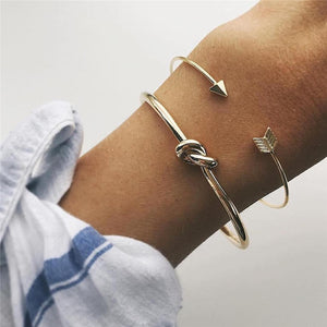 2PCS/SET Vintage Cuff Bracelet Bangles for Women Brief Gold Color Open Arrow Knotted Charms Bracelet Jewelry valentines Gift - thefashionique