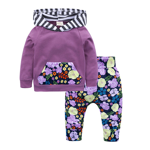2PCS baby girl outfits fashion long sleeve hooded hoodie+pants with floral spring autumn clothing set infant newbron set 2018
