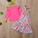2Pcs Autumn Clothes For Girls 2018 Cute Infant Baby Girl Fly Sleeve T Shirt+Floral Printed Sling Skirts Kid Girls Autumn Outfits - thefashionique