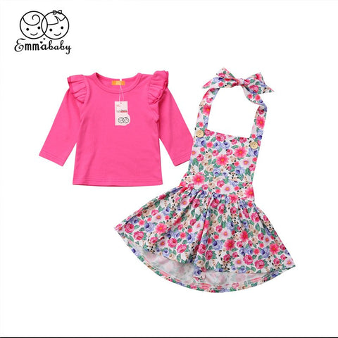 2Pcs Autumn Clothes For Girls 2018 Cute Infant Baby Girl Fly Sleeve T Shirt+Floral Printed Sling Skirts Kid Girls Autumn Outfits