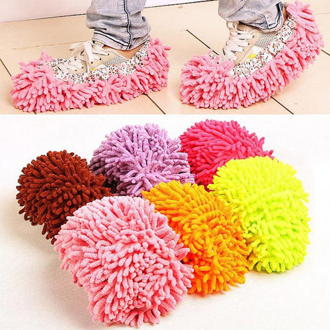 2Pcs Fashion Convenient Dust Mop Slipper House Cleaner Lazy Floor Dusting Foot Shoe Cover Easy Sock Off 8Colors Mops Cover