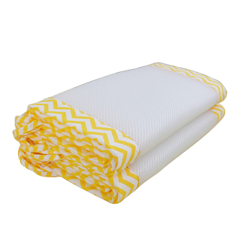 2Pcs/Set Breathable Summer Baby Bedding Bumper Collision Half Around Baby Crib Bumpers Bedding Cotton Printing Mesh Safety Rails - thefashionique