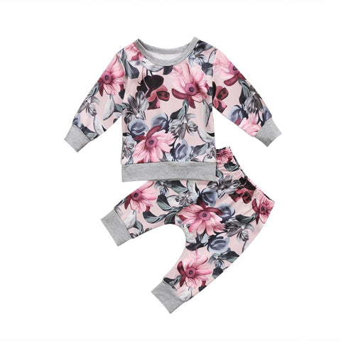 2Pcs Toddler Kids Newborn Baby Girls Clothes Floral Long Sleeve T shirt Tops Floral Pants Outfits Set