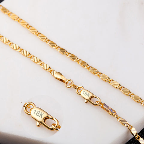 2mm Flat Chain Necklace For Women Men Jewelry Necklaces & Pendants Charms Jewellery 16 18 20 22 24 26 28 30 inch Wholesale M175 - thefashionique