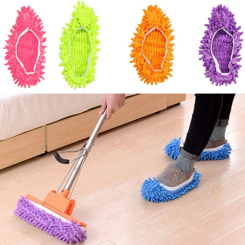 2pcs/1 pair Dust Mop Slipper House Floor Microfibre Fabric Polishing lazy Dusting Cleaning Foot Shoes Cover Car washing Cleaner