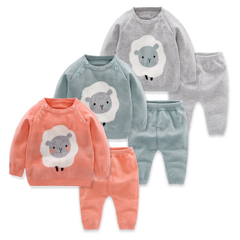 2pcs Baby Boy Set Wool Knitted Cotton Sweater Girls Boys Sets Infant Warm Pullover Pants Suit Newborns Toddler Clothing Sets - thefashionique
