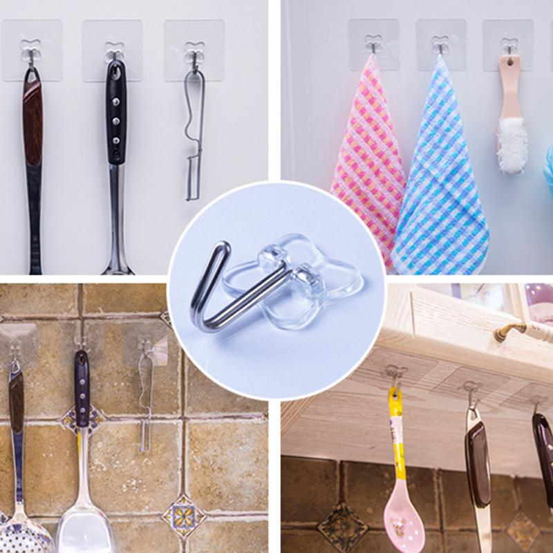 2pcs Bathroom kitchen home Strong Paste sticker Hook Key Towel Hanger Holder Hooks - thefashionique