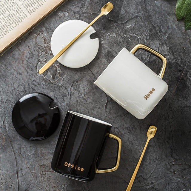 2pcs Classical White and Black Coffee Cups Ceramics Nordic Style Gold Handgrip Mugs with Lid Spoon Home Couples Milk Cup Mug - thefashionique