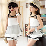 2pcs Girls Clothing Set 2018 New Fashion Children's Clothing Net Veil T-Shirts Pants Kids Suits for 4 5 6 7 8 9 10 11 13 Years - thefashionique