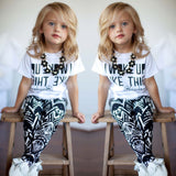 2pcs Infant Toddler Kids Girls I Woke Up Like This White Casual Tops T Shirt Pants Outfits Set 2-9Y - thefashionique