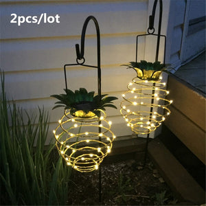 2pcs/lot Pineapple Lamp Solar Garden Light Hanging Wall Lamp Outdoor Waterproof Christmas Yard Fairy Portable Wire Artist Decora
