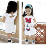 3 4 5 6 7 8 Years Kids Baby Girls Clothes Spring Summer Cute Cartoon Minnie Party Dress Bow Back Outwear Children Clothes - thefashionique