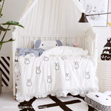 3/4pcs set nordic hand-painted Ruffled design 100% cotton baby bedding set for newborn baby duvet cover pillowcase crib bumpers - thefashionique