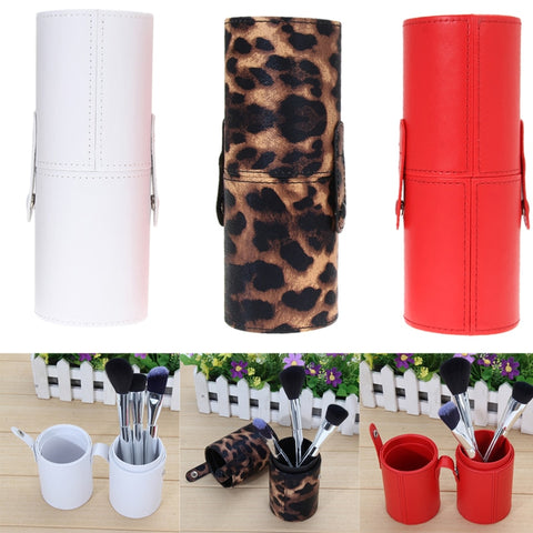 3 Color PU Leather Travel Cosmetic Brush Pen Holder Storage Empty Holder Makeup Accessories Brushes Organizer Make Up Tools - thefashionique