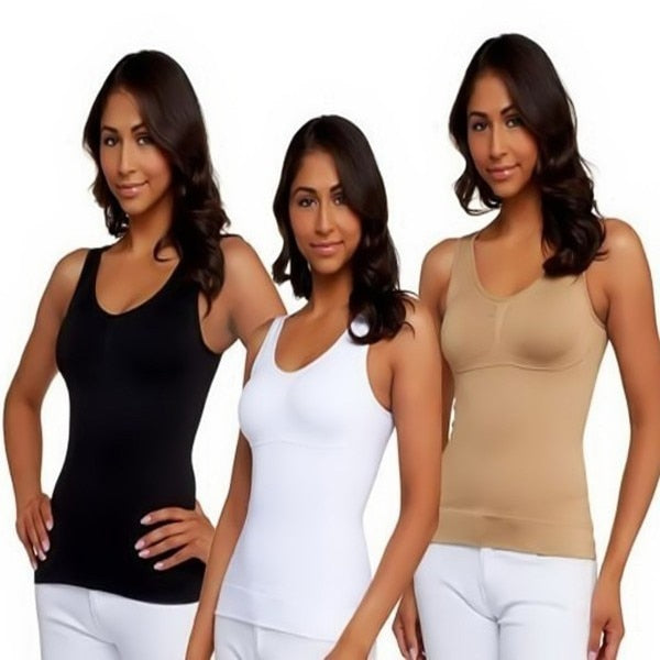 3 Packs Black White Begie Woman Body Shapewear in Seamless Shaping Cami Shaper Tank Top Slimming Long Thin Style Double-layer - thefashionique