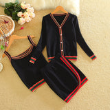 3 Piece Set Womens Sweat Suits 2018 Autumn Winter Long Sleeve Fashion Ladies Knit Suit Sweater Mini Skirt and Blazer Sets - thefashionique