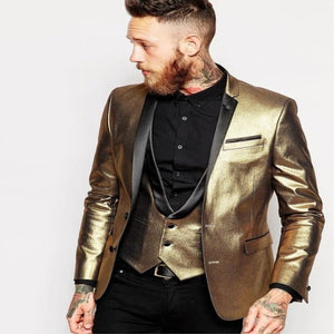 3 Piece Shiny Tuxedos Men's Slim Fit Gold Suits Lapel Cran Groom Tuxedos Bridesmaids Men's Wedding Suits (Jacket + Pants + Vest) - thefashionique