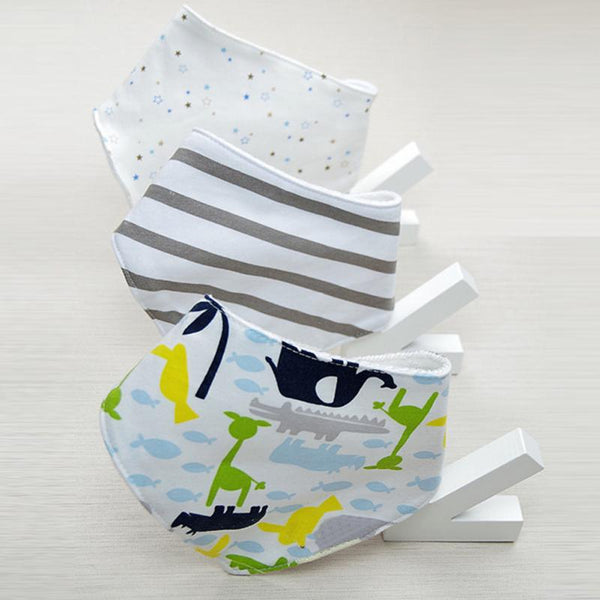 3 pcs baby boys girls bibs 100% cotton Triangle Shaped quality child bibs Cravat Infant Towels - thefashionique