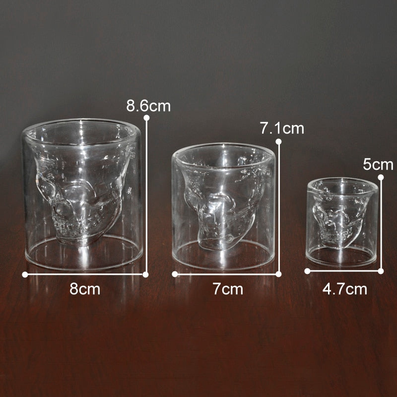 3 sizes Two ways Shot Transparent Crystal Skull Head Glass Cup For Whiskey Wine Vodka Bar Club beer wine glass - thefashionique