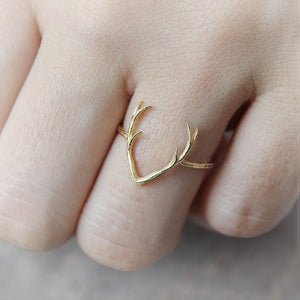 30 PCS Free Shipping hot sale Simple Deer Antler stag ring reindeer deer horn ring cute animal buckhorn ring jewelry