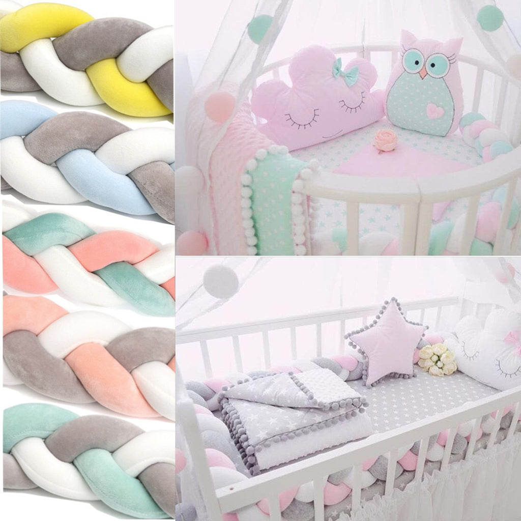 300CM Baby  Child Soft Knit Knot Ball Long Pillow Strip Baby Bedding Stuffs Kids Room Decoration Baby Bed Bumper - thefashionique