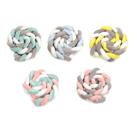 300CM soft Knit Knot Ball Long Strip Baby Bedding Stuffs Kids Room Decoration Baby Bed Bumper - thefashionique