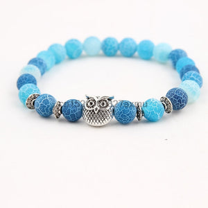 300PCS Owl Beads Bracelet Charm Elastic Natural Stone Bracelet Animal Hand Lava Bracelet Men Helmet 8mm - thefashionique