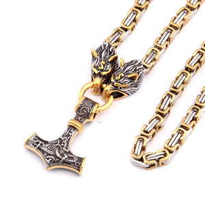 316L stainless steel never fade Viking wolf head Bamboo chain necklace with mix gold thor's hammer pendant necklace
