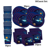 32PCS Outer Space Themed Birthday Party Supplies Serves 16Guest Paper Plate Cups Napkin For Kids Planet Themed Party Decoration