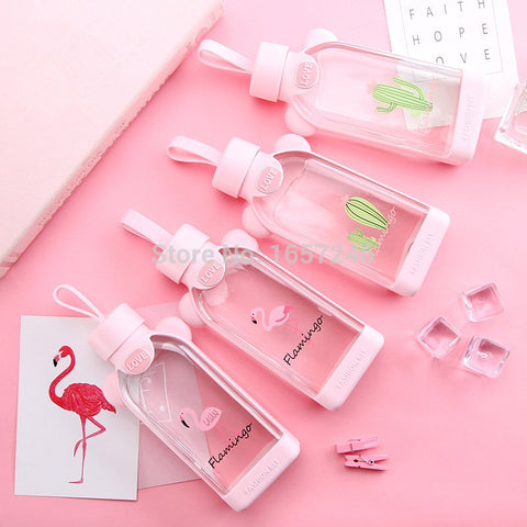 350ml Cartoon Flamingo Glass Water Bottle with Cloth Protection Cover Tumbler Milk Tea Infuser Gifts for Girls Back to school - thefashionique