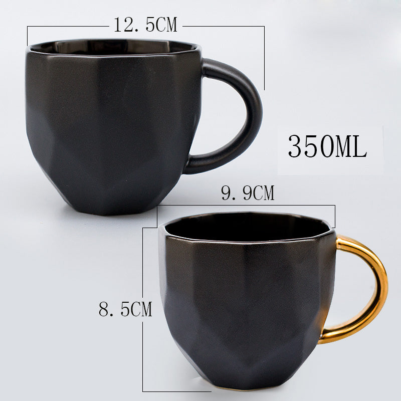 350ml Couple Coffee Cups European Ceramic Business Geometric Cutting Mugs Black Gold Matt Milk Tea Drink Breakfast Gift Boxed - thefashionique