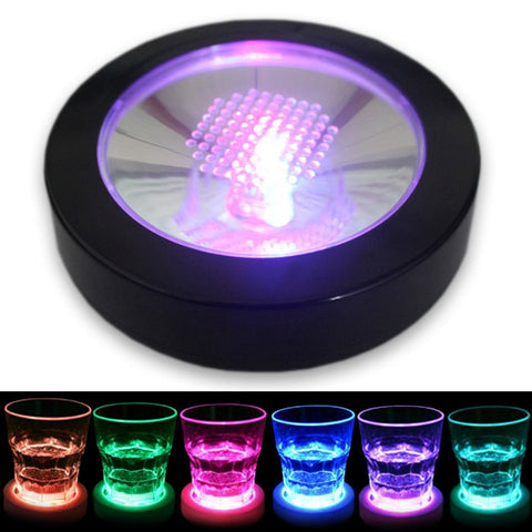 360pcs RGB Color Changing LED Coaster Flashing Light Beer Wine Glass Drinking Bottle Cup Mat Coaster Club Bar - thefashionique