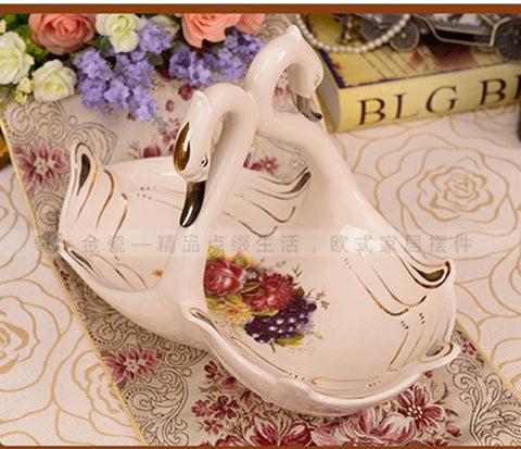 38*21*26CM Hand-painted Gold Ceramic Swan Fruit Plate
