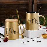 380ml Creative Ceramic Coffee Mug Milk Tea Cup Travel Mugs Mr Mrs Drinkware Novelty Gift For Kids Gold Color - thefashionique