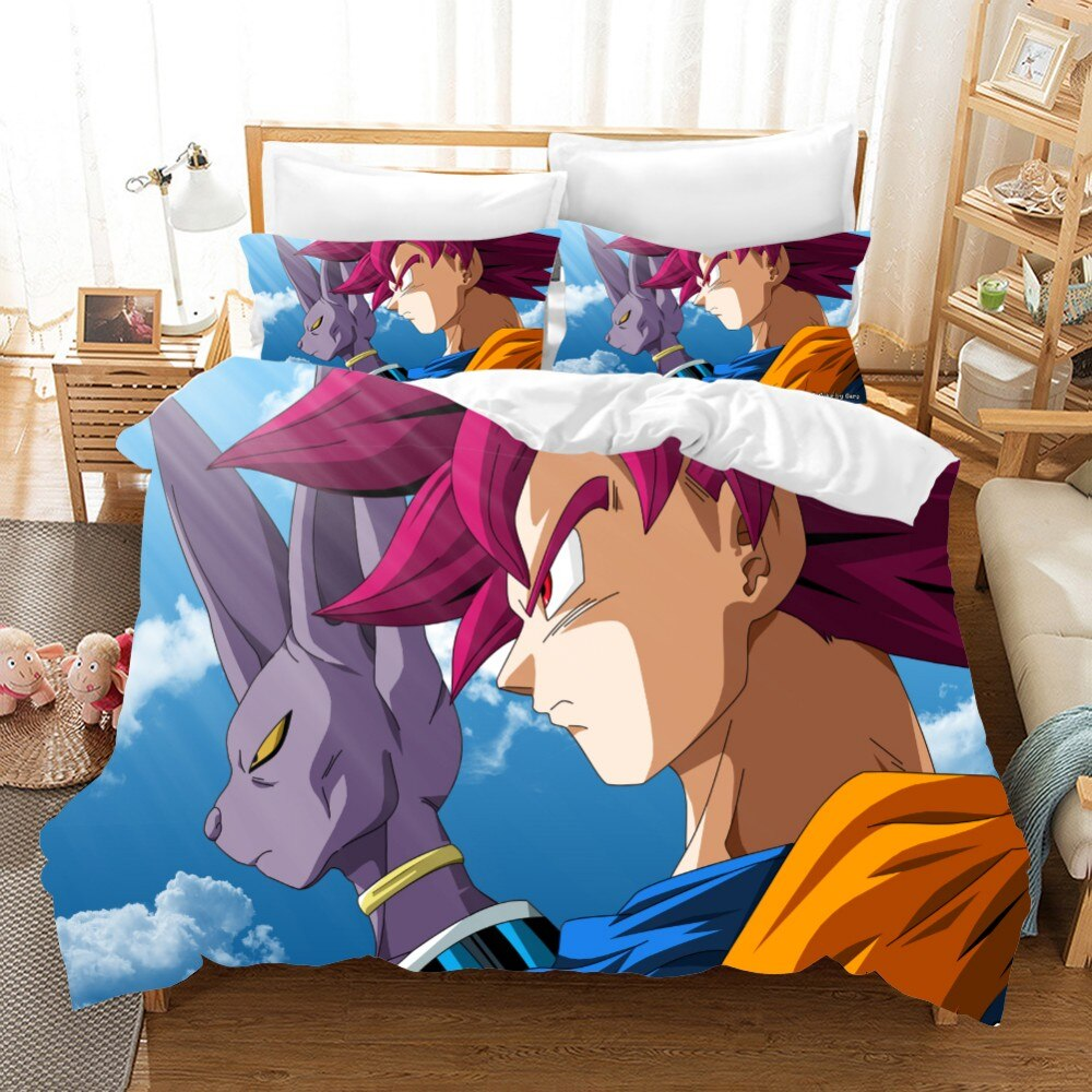 Dragon Ball Duvet Cover with Pillow Cases Cartoon Quilt Cover Kids Bedding Set