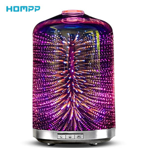 3D Magic Firework LED Glass Essential Oil Diffuser Electric Aromatherapy Night Light Xmas Ornaments Table Lamp Hotel SPA Gift