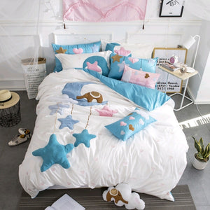 3D Reactive Dyes Lovely Cartoon Star Printing 100% Cotton Bedding Set Duvet Cover Bed Sheet Pillowcases Gift For Baby Girls Boys - thefashionique