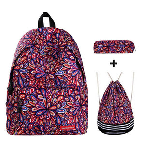 3PCS /set Preppy Style Flower Printed Women Backpack Fashion Female School Backpack For Teenage Girls Shoulder Drawstring Bags - thefashionique